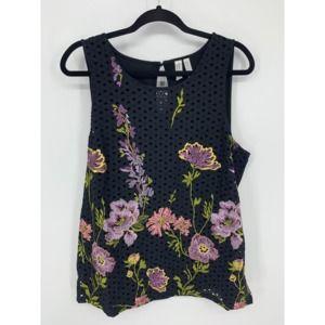 Meadow rue black floral tank L crochet